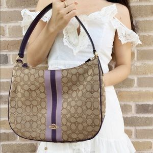 Coach canvas hobo khaki signature purple